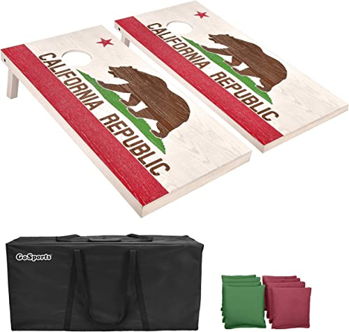 GoSports Flag Series Wood Cornhole Sets – Choose between American Flag and State Flags – Includes Two Regulation Size...
