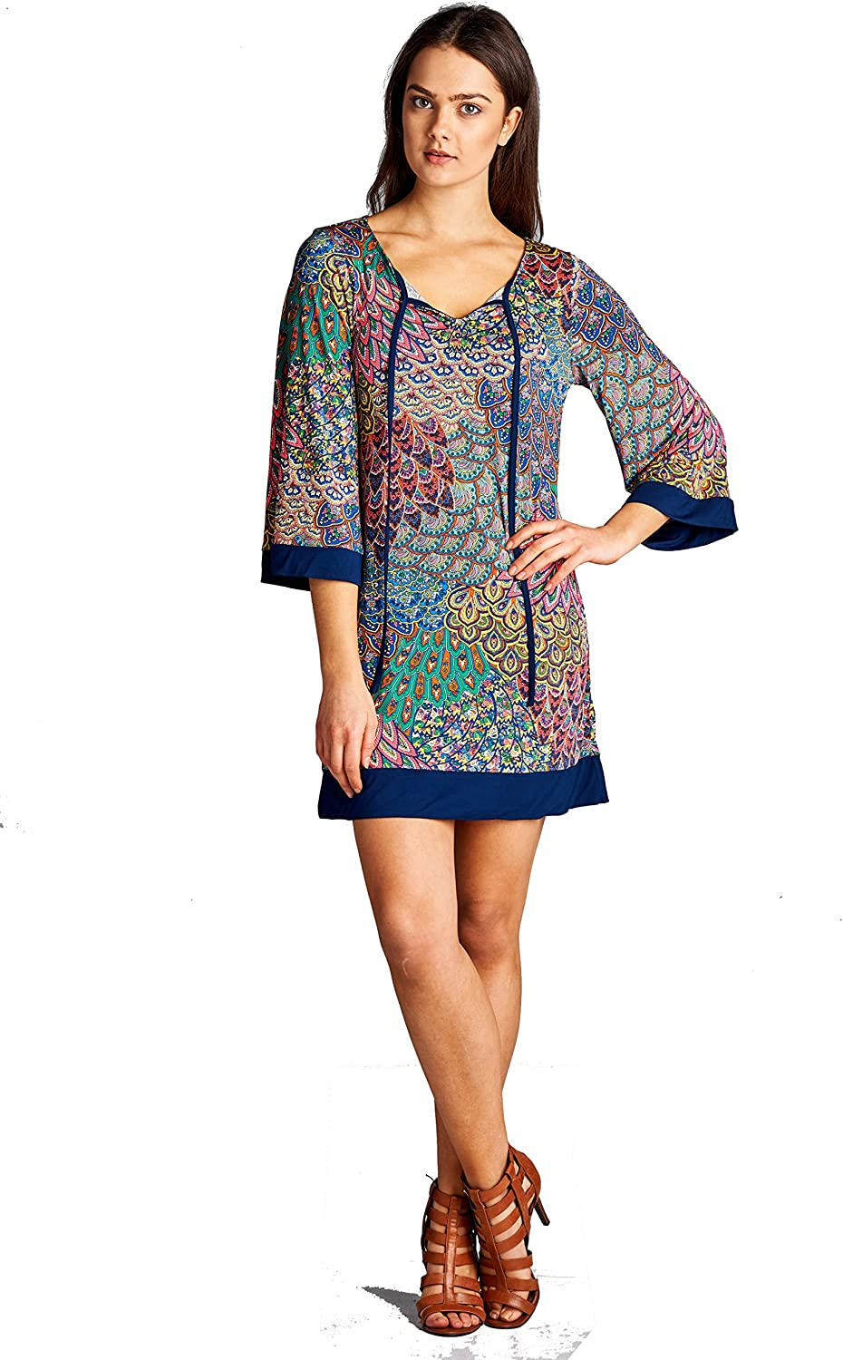 On Trend Women's Classic Bohemian Tunic or Dress 3 4 Sleeves