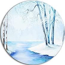 """designart """"النهر في الشتاء من SNOWY المناظر الطبيعية"""" معدنية العمل الفني ، 23x 23سم ، باللون الأزرق/أبيض"""