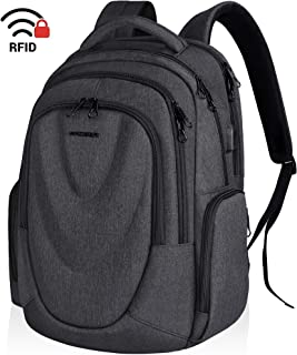 KROSER Travel Laptop Backpack 17.3 Inch Molded Front Panel Large Computer Daypack Water-Repellent with RFID Pockets USB Charging Port for Work/Business/College/Men/Women-Charcoal Black