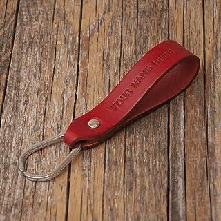Rosso portachiavi personalizzato di pelle con anello a forma di goccia e monogramma inciso, regalo per ragazzo