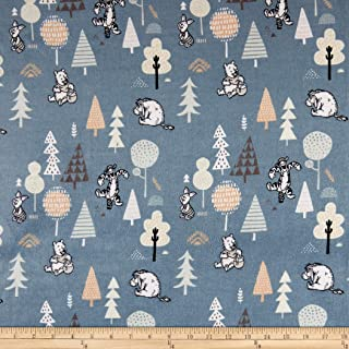 Camelot Fabrics Winnie the Pooh Wonder & Whimsy Forest Friends Dark Bamboo Flannel Dark Blue Fabric Fabric by the Yard