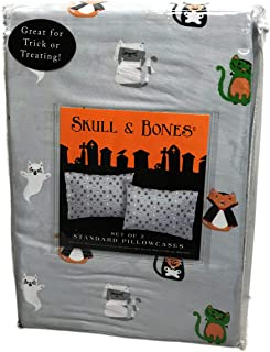 Skull & Bones Happy Halloween Cute Cat in Spooky Costumes Set of Two Standard Pillowcases Great for Trick or Treating 20