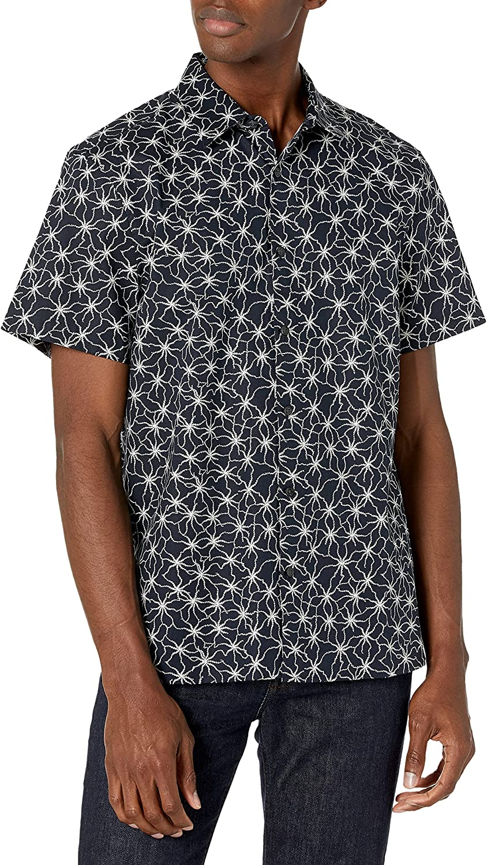 Perry Ellis Men's Standard Floral Print Short Sleeve Stretch Button-Down Shirt