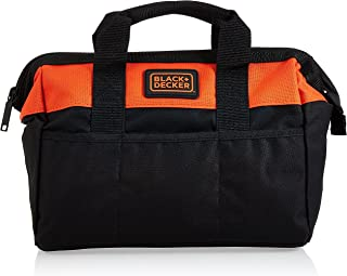 Black+Decker 12 Inch Closed Lightweight Tool Bag with 3 Outer Pockets , Orange/Black - BDST73820-8, 2 Years Warranty