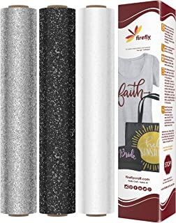 Firefly Craft Glitter Heat Transfer Vinyl Bundle | Glitter HTV Vinyl Bundle | Glitter Iron On Vinyl for Cricut and Silhouette | Pack of 3 Rolls - 12