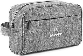 BRANDSON Kulturtasche, wasserabweisend, geräumig und robust, mit wasserdichtem Reißverschluss - Kulturbeutel, Kosmetiktasche für Damen und Herren Grau