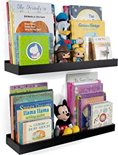 Wallniture Nursery Room Wall Shelf - Floating Book Shelves Decor for Kids Room - 23 Inch Picture Ledge Tray Toy Storage Display Black Set of 2