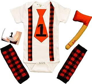First Birthday Outfit Boy Lumberjack Buffalo Plaid Cake Smash 1st Onesie One B-Day Baby