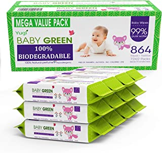 Baby Green Biodegradable Baby Wipes Natural essential oils– Value Pack (12 Packs of 72) 864 – compostable 99% Pure Water P...