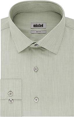Slim Fit Stripe Spread Collar Dress Shirt