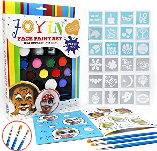 Joyin Toy Face Paint Ultimate Party Pack - 12 Colors, 24 Stencils, 2 Glitter Gel, 3 Brushes and Idea Booklet Included, Easy on & Easy Off, Non-Toxic, Arts & Crafts for Halloween Makeup