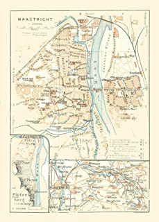 MAPS OF THE PAST Europe Maastricht Netherlands - Baedeker 1910-23 x 32.09 - Glossy Satin Paper