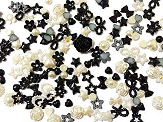 PEPPERLONELY Brand 20 Grams (Apprx 135PC + )Black Cream Off White Mixed Flowers Stars Flowers Bows Petals Round Acrylic Cabochons Flat Back Pearls