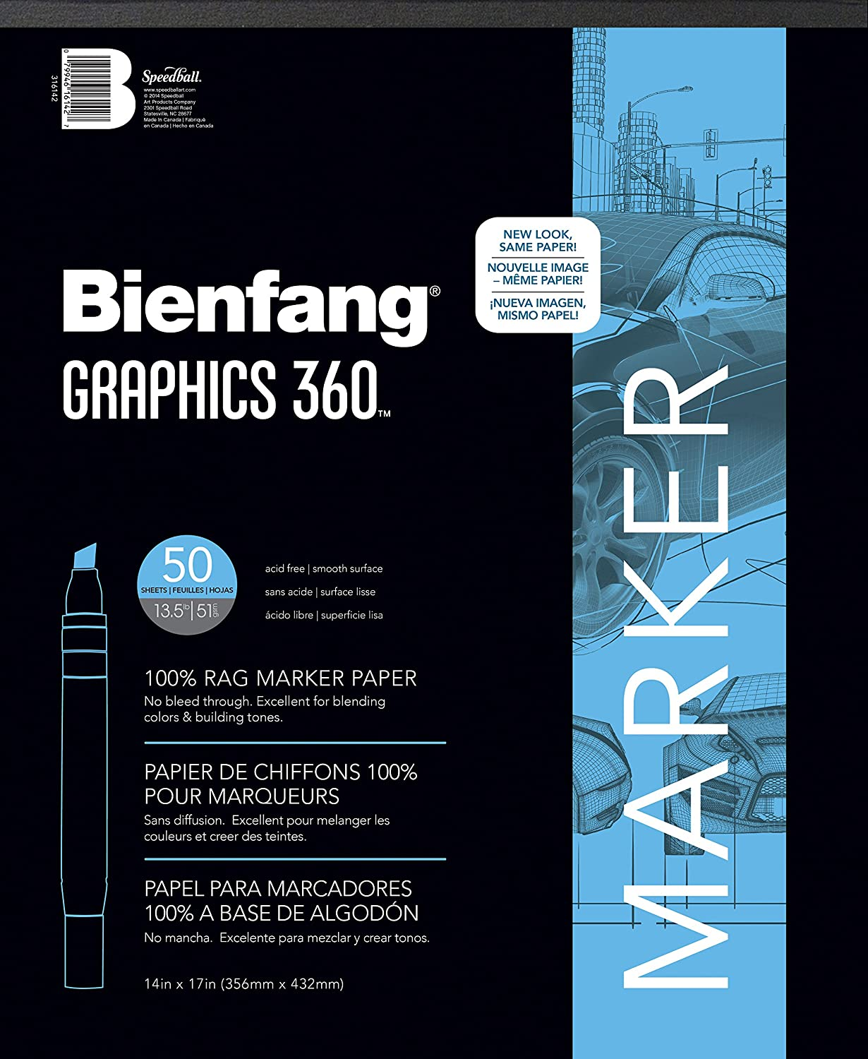 Bienfang 316142 Graphics 360 14by17Inch Pad of Translucent Marker Paper, 50 Sheets