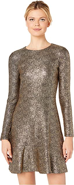 Foil Knit Long Sleeve Flounce Dress