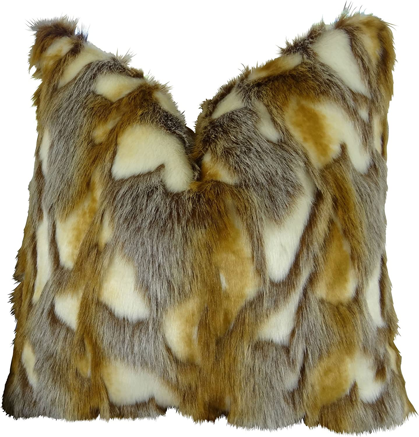 Thomas Collection Handmade in USA Luxury Faux Fur Throw Pillow for Couch Sofa Bed, Made in USA Pillow Insert & Cover, Light Brown gold White Pillow  17403