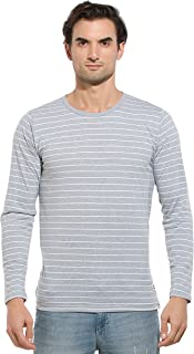 Alan Jones Men's Cotton Full Sleeves Striped T-Shirt