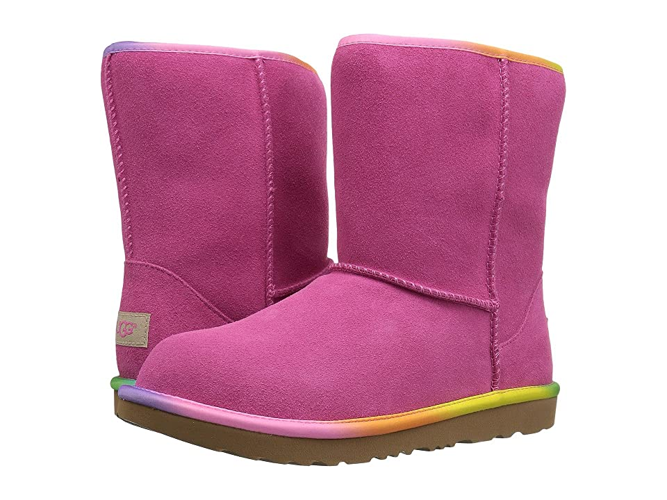 UGG Kids Classic Short II Rainbow (Little Kid/Big Kid) (Pink Azalea) Girls Shoes