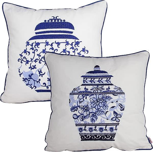 Queenie 2 件装传统中式青花瓷系列 100 纯棉绣花装饰枕套靠垫套抱枕套 18X18 英寸 45X45 Cm 2 壶套装