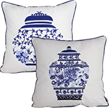 Queenie - 2 Pcs Traditional Chinese Blue & White Porcelain Series 100% Cotton Embroidered Decorative Pillowcase Cushion Cover Throw Pillow Case 18 X 18 Inch 45 X 45 Cm (2, Pot Bundle Set)