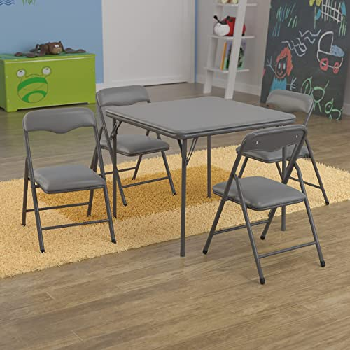 Flash Furniture Kids Gray 5 Piece Folding Table and Chair Set
