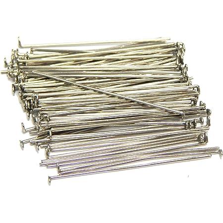 250 perni per collana, 50 mm x 0,5 mm, argentati, perni per perline, perni prismatici color argento M316