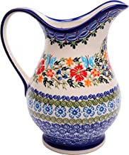 Polish Pottery Ceramika Boleslawiec Pitcher K Cups, Royal Blue Patterns with Red Cornflower and Blue Butterflies Motif, 4-1/4-Inch