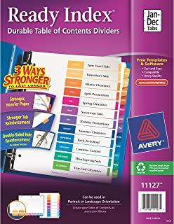 Avery Ready Index Monthly Dividers, Printable Table of Contents, Multicolor Tabs, Case Pack of 24 Sets (11127)