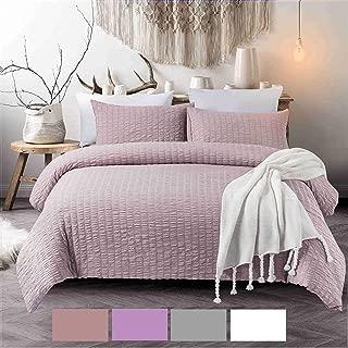 NC HOME FASHIONS 3-Pieces Seersucker Duvet Cover Set, Queen- for Comforter/Quilt/Blanket, with Zipper & Corner Ties-Luxurious, Breatable and Ultra Soft (Queen, Rose Pink)