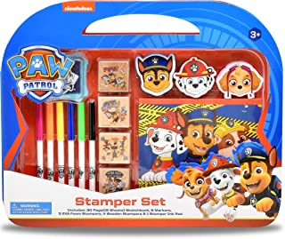 Paw Patrol Coloring Stamper and Activity Set, Mess Free Craft Kit for Toddlers and Kids, Drawing Art Supplies Included Sketch Book, 6 Color Markers, 3 Foam and 4 Wooden Stampers