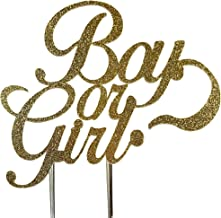 CMS Design Studio Handmade Gender Reveal Cake Topper Decoration - Boy or Girl - Double Sided Gold Glitter Stock