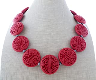 Collana girocollo con lacca rossa ed ematite grigia, stile orientale, gioielli artigianali, bijoux moderni, regalo per lei