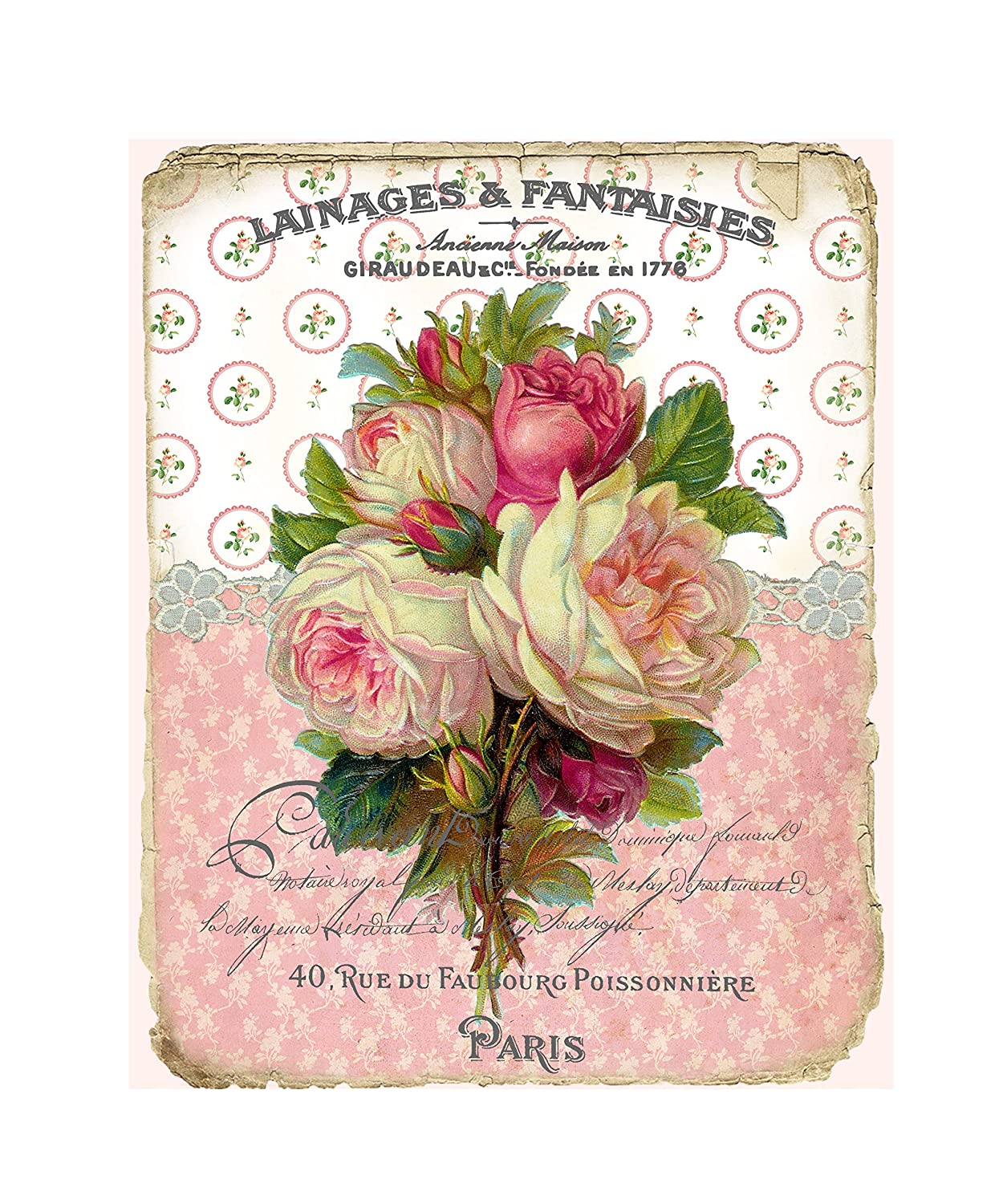 16 x 20 French Discount Great interest is also underway Roses Art Print Canvas Wall