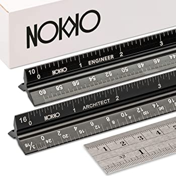 NOKKO Architectural and Engineering Scale Ruler Set - Professional Measuring Kit for Drafting, Construction - Imperial and Metric Conversion Table Included - Laser-Etched Markings, Anodized Aluminum