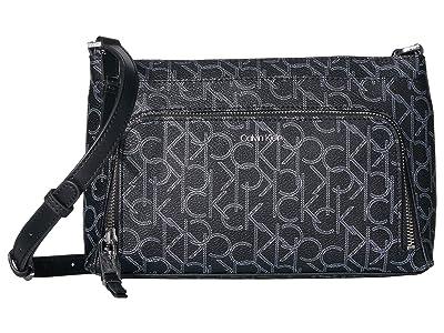 Calvin Klein Key Item Monogram Multi Entry Crossbody (Black/White) Cross Body Handbags