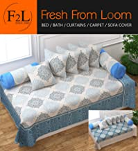 F2L Fresh from Loom Cotton Fabric Reversible (You can Use Bedsheet Cum Bed Spread Both Side) Diwan Set Covers; Aqua -8 Piece