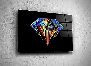Genericc Colorful Diamond Luxury Jewelry Digital Photo Print Tempered Glass Canvas Wall Art Home Decor Present Office Decor Hotel Decor Modern Art Decor Gift (24x36)