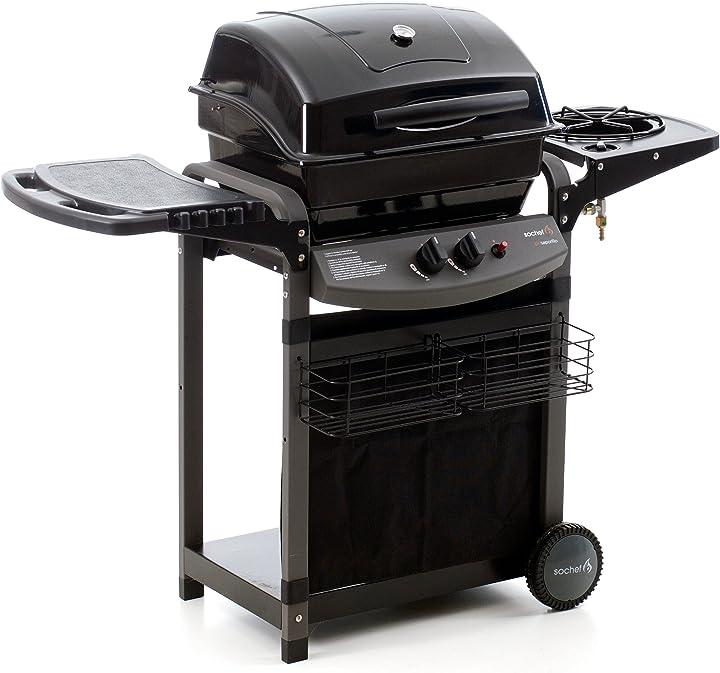 Barbecue, sistema di cottura a pietra lavica, nero, 52x122x103 cm sochef piùsaporillo G20513