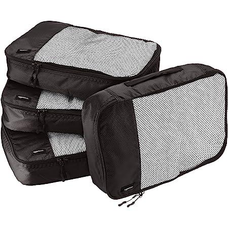 Amazon Basics 4 Piece Packing Travel Organizer Cubes Set - Medium, Black