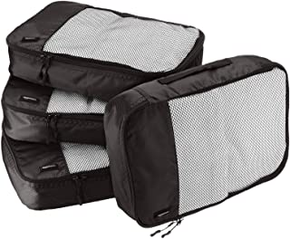 Amazon Basics 4 Piece Packing Travel Organizer Cubes Set - Medium, Black