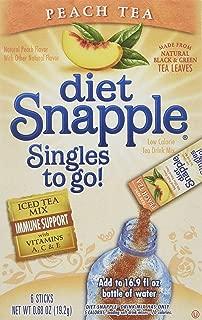 Diet Snapple Singles to Go Peach Tea (6 Sticks in each box) SIX BOXES