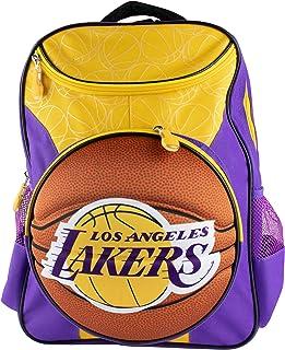 حقيبة الظهر الرسمية LA Lakers باللون الأرجواني والذهبي للأطفال، عرض 40.64 سم - صورة كرة السلة ثلاثية الأبعاد
