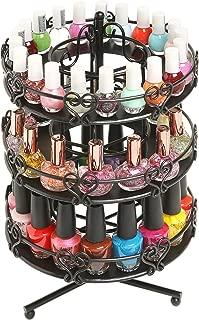 MyGift 3 Tier Salon Style Black Metal Spinning Carousel Nail Polish Display Rack/Cosmetic Organizer Stand