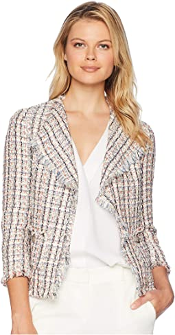 Americana Tweed Fringe Jacket with Patch Pockets