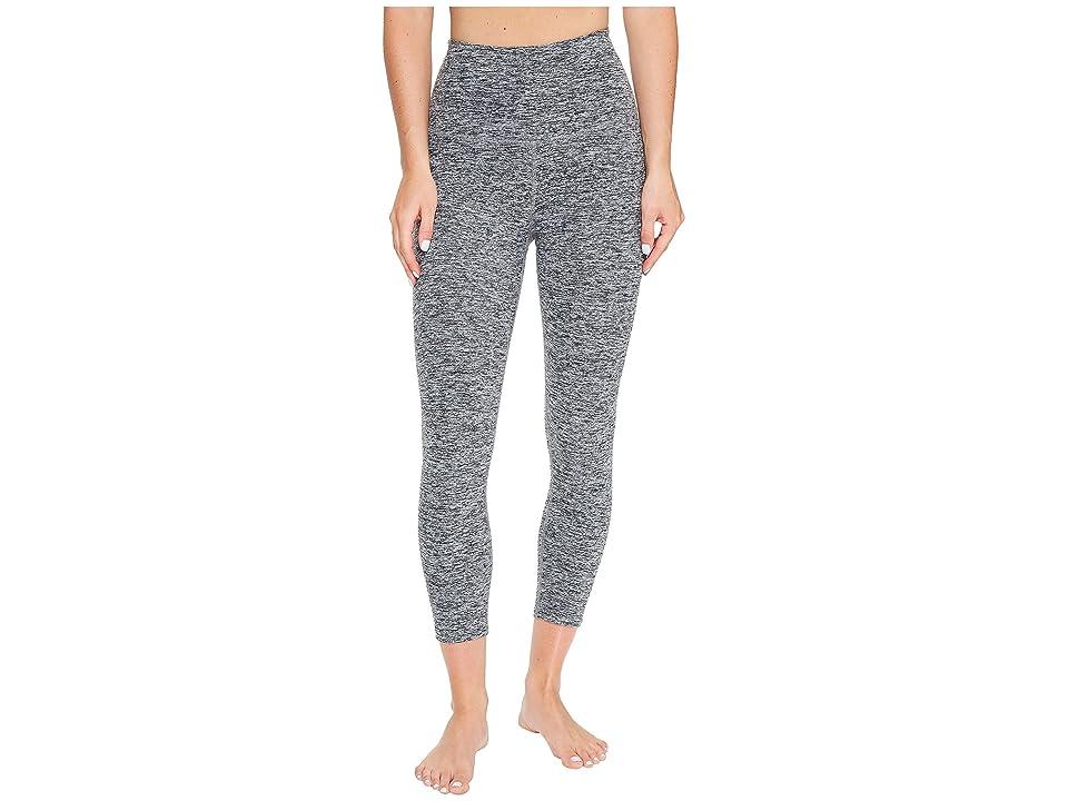 Beyond Yoga Spacedye High-Waisted Capri Leggings (Black/White Spacedye) Women