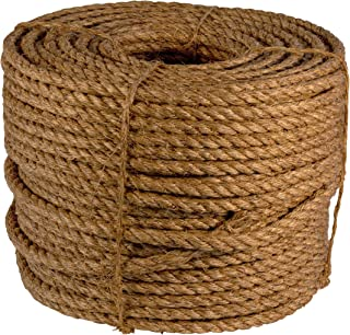 ATERET Twisted Manila Rope I 3 Strand Natural Fiber Rope I 1/4 inch x 600 feet I Multipurpose for Landscaping & DIY Projects