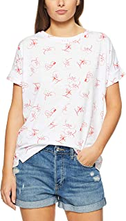 French Connection Women's Micro Floral TEE, Summer White/Red