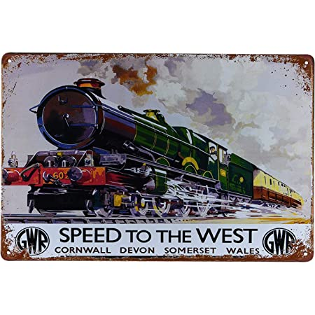 Karmour Accessories Great Western Railway - Famous Vintage Trains Metal Tin Signs, Retro Poster Style Pictures for Man Caves, Offices, Bars (Great Western)