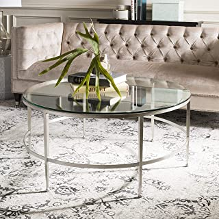 Safavieh Home Collection Edmund Antique Silver Glass Cocktail Coffee Table